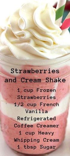 Strawberries and Cream Shake ~ Perfect make at home summer treat...  Super tasty and always cools you down.