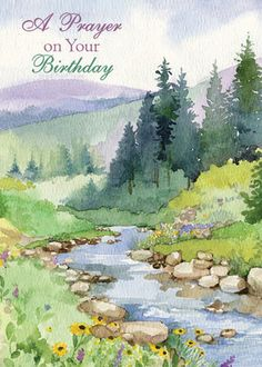 Prayer on your birthday - Watercolour - beginners Painting easy Painting ideas Painting water Painting tutorials Painting landscape Painting abstract Watercolor Painting Watercolor Scenery, Watercolor Pictures, Watercolor Landscape Paintings, Watercolor Drawing, Watercolor And Ink, Watercolor Illustration, Painting & Drawing, Watercolour Mountains, Simple Watercolor