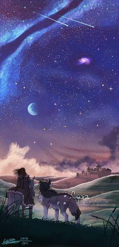 """arya and nymeria return to winterfell"" | ClaireLyxa on DeviantArt"