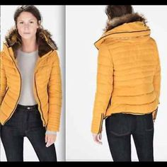 Yellow Zara jacket Love this jacket ! Kept me warm for one winter. Has a hood, and the fur detailing is gorgeous. Open to offers, I just need this jacket gone. Zara Jackets & Coats