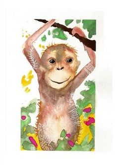 Here's a cute monke! LWick Original SFA watercolor 6x9 jungle animal young monkey trees  #LindaWickerStyle