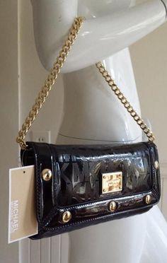 MICHAEL Kors DELANCY CLUTCH Shoulder bag, STUDDED Black MK Sig Mirr Metallic  #MichaelKors #Clutch