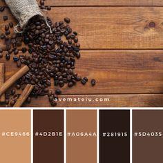 Cinnamon near spilled coffee beans Color Palette Color Palette View details → Brown Color Schemes, Color Schemes Colour Palettes, Rustic Color Schemes, Brown Colors, Rustic Color Palettes, Rustic Colors, Vintage Colors, Black Color Palette, Colour Pallette