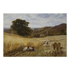 Harvest Time Near Holmbury Hill, Surrey Poster
