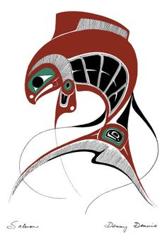 PNW Native American Serigraph of Salmon by Danny Davis Arte Inuit, Arte Haida, Haida Art, Inuit Art, Native American Totem, Native American Design, Koi, Art Textile, Animal Totems