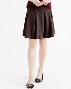 Pleated Ponte Knit Skirt garnet hill