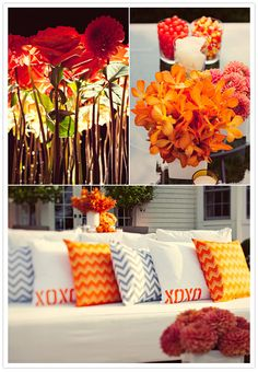 Orange & Grey chevron pillows with orange dahlias, roses & orchids for this New York Birthday Party by Alchemy Fine Events & Invitations www.alchemyfineevents.com