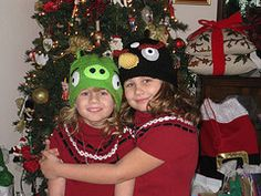 hand knit hats, angry birds: made by Nana at www.cutiepiehats.com