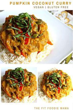 Vegan Pumpkin Coconut Curry Recipe {gluten free, vegetarian, healthy meal, thai pumpkin curry, foodie friday #fitfluential}