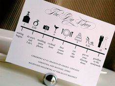 The schedules described in a wedding program normally seem direct and to the point. This wedding program design puts more detail on the schedule by turning it into an illustrated timeline that showcases the main events of the day.