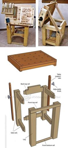 Tilting Carving Table Plans - Wood Carving Patterns and Techniques | WoodArchivist.com
