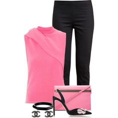 Pink and Black by terry-tlc on Polyvore featuring moda, J.W. Anderson, The Row, Giambattista Valli, Victoria Beckham, Monique Péan, Chanel and pinkandblack