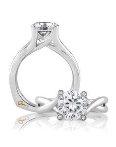 Engagement Rings :   Illustration   Description   White Gold Round Engagement Ring   A.JAFFE MES463   knot.ly/649181EVB    -Read More –   - #WeddingRings https://adlmag.net/2017/12/09/engagement-rings-white-gold-round-engagement-ring-a-jaffe-mes463-knot-ly-649181evb/