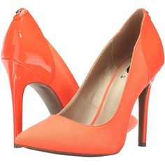 G by GUESS Felisity (Coral) High Heels (155 SAR) ❤ liked on Polyvore featuring shoes, pumps, coral, pull on shoes, slip-on shoes, synthetic shoes, high heel shoes and fleece-lined shoes