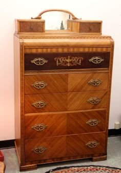 Art Deco Walnut High Chest Of Drawers Antique Vintage Dresser Dressers And