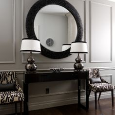 Entrance way like the idea of mirror and chairs