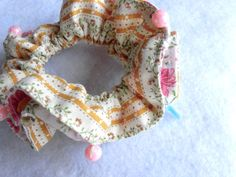 """Sale item / Japanese handmade kawaii beaded Scrunchie,shushu,Ponytail Holder,Hair ties,Hair accessories for Cosplayer,hime lolita,gyaru and more / 4"""" (10cm) - #sa9 by YuminaCafe on Etsy 450JPY(25%off)"""