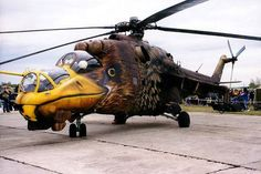"This painted masterpiece is actually a Mi-24 Hind helicopter and it belongs to the Hungarian Air Force. You might have seen photos of this beautifully painted aircraft on other sites, with descriptions like ""this American Eagle helicopter is currently on duty in Afghanistan (or Iraq) raining hell on terrorists"", but the truth is The Eagle was painted by its own crew and it was never intended for combat, i is simply a vehicle presented at air shows."