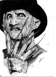 Robert Englund from Nightmare on Elm Street Freddy Krueger Horror Movie Tattoos, Horror Movie Characters, Horror Movies, Dark Art Drawings, Realistic Drawings, Freddy Krueger Drawing, Horror Drawing, Horror Artwork, Horror Pictures