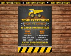 Construction Party Invitation Dump Truck by TiffsSweetDesigns Construction Party Invitations, Custom Party Invitations, Construction Birthday Parties, 3rd Birthday Parties, Invites, Monkey Birthday, Boy Birthday, Birthday Ideas, Dump Truck Party