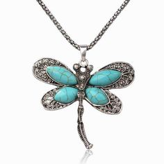 Vintage Stone Pendant Jewelry Necklace new 2017 Imitation  Dragonfly Animal Antique Chain Stone Charm Pendant Necklace #Affiliate