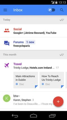 Google's Inbox interface for Gmail blends individual messages with bundles that group similar ones together. Extra information from the Web is blended in, too.