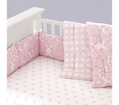 Baby Crib Bedding: Baby Crib Pink Floral & Lattice Print Bedding