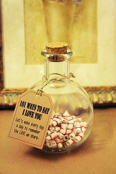 messages in a bottle. perhaps to be done before the wedding day, and one opened for every argument thereafter.