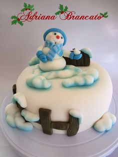 Snowman Christmas Cake - Torta muñeco de nieve de Navidad