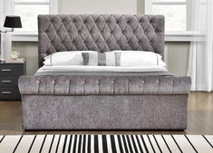 This Damaris Upholstered Kingsize Ottoman Bed is a fantastic contemporary chesterfield ottoman design bed frame. The high-quality fabric is detailed with diamante crystals on the headboard and footboard. Velvet Upholstered Bed, Upholstered Bed Frame, Headboard And Footboard, Wood Headboard, Ottoman Design, Bed Design, House Design, Ottoman Bed, Ottoman Storage