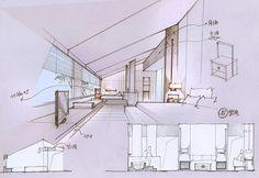 酒店客房设计草图 on Behance Architecture Images, Architecture Drawings, Concept Architecture, Interior Architecture, Interior Design Renderings, Interior Sketch, Conceptual Drawing, Conceptual Design, Interior Presentation