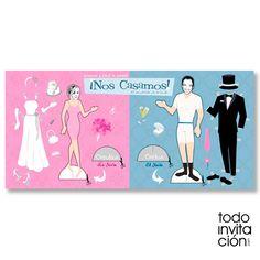 Invitación de boda muy original, con los novios como si fueran muñecos de papel recortables. TODOINVITACION.COM
