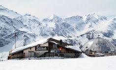 """Adelboden, Switzerland - enjoy lunch while taking a break from skiing at a mountain """"hutte"""" like this one"""