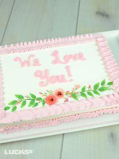Floral Laurel Sheet Cake featuring Lucks Floral Laurel Designer Prints® design.