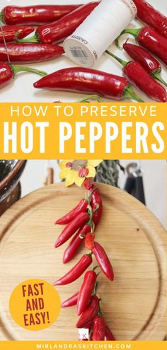This simple method for drying peppers gives you all the tools you need to dry those extra garden peppers for winter. You can preserve extra food in minutes with a simple needle and thread! Save money, trips to the grocery store AND get more flavor in your cooking! #preserving #dehydrating #easy #spicy #garden Quick Recipes, Delicious Recipes, Healthy Dinner Recipes, Soup Recipes, Breakfast Recipes, Healthy Food, Dessert Recipes, Healthy Eating, Diy Ideas