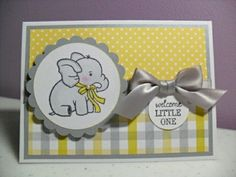 Handmade Baby Card Baby Elephant Card Welcome by GGgreetings .adorable baby elephant on a scalloped edge circle . like the use of coordinating patterned papers . Scrapbooking Original, Tarjetas Diy, Baby Shower Invitaciones, New Baby Cards, Greeting Cards Handmade, Baby Boy Cards Handmade, Kids Cards, Cute Cards, Creative Cards