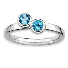 Sterling Silver Stackable Expressions Dbl Round Blue Topaz Ring
