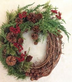 Holiday Winter Natural Acorn Pine Cone and Berry Wreath #OneofAKindFloralDesignGifts