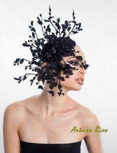 Black berries headpieceFascinatorCocktail hatFashion by ArturoRios