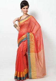 Bunkar Supernet Multi Zari Peach Border Saree - Buy Women Sarees Online | BU651WA74PYRINDFAS