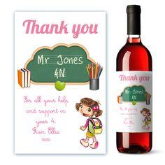 Personalised School Helper Wine Label Thank You Gift