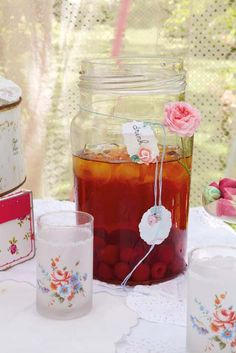 Berry iced tea.  I am in LOVE with the glasses, wish i knew where to get them!!