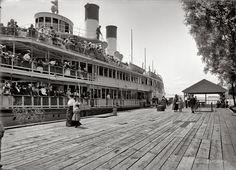 (c. 1900-1901) SS Tashmoo at the dock, Star Island House - St. Clair Flats, MI