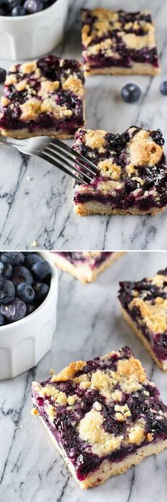 A buttery shortbread-like base, juicy blueberry filling & crumbly crumble toppin. - A buttery shortbread-like base, juicy blueberry filling & crumbly crumble topping – these Blueber - # Blueberry Crumble Bars, Blueberry Desserts, Mini Desserts, Just Desserts, Delicious Desserts, Yummy Food, Blueberry Oatmeal, Blueberry Squares, Blueberry Breakfast