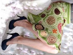 """Купить Юбка вязаная """"Мхи Исландии"""" Фриформ freeform crochet dress - фисташковый, зеленый, фриформ"""