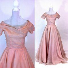 Vintage 1950s Pink Organza Chiffon Gown - Wedding - Bridal - Prom - Evening - Formal - Retro 50s - Short Sleeves