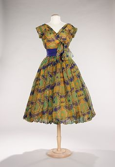 Cocktail Dress  House of Dior  (French, founded 1947)  Designer: Christian Dior (French, Granville 1905–1957 Montecatini) Date: spring/summer 1956 Culture: French Medium: silk, synthetic