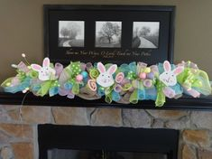 Easter Garland Easter Decoration Spring Garland by SwagsByKari Mantle Garland, Deco Mesh Garland, Fireplace Decorations, Table Decorations, Easter Crafts, Holiday Crafts, Holiday Fun, Easter Decor, Easter Ideas