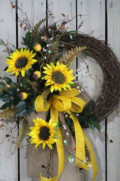 Sunflower Front Door Wreath, Country Fall Wreath, by FloralsFromHome