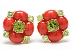 Pair of Coral and Peridot Ear Clips, Maz - Leland Little Lotus Jewelry, Coral Jewelry, Leo Birthstone, December Calendar, Jewelry Auctions, Coral Earrings, Red Coral, Peridot, Birthstones